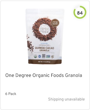 One Degree Organic Foods Granola Nutrition and Ingredients