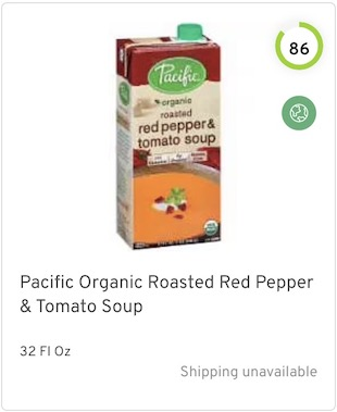 Pacific Organic Roasted Red Pepper & Tomato Soup Nutrition and Ingredients