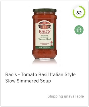 Rao's - Tomato Basil Italian Style Slow Simmered Soup Nutrition and Ingredients